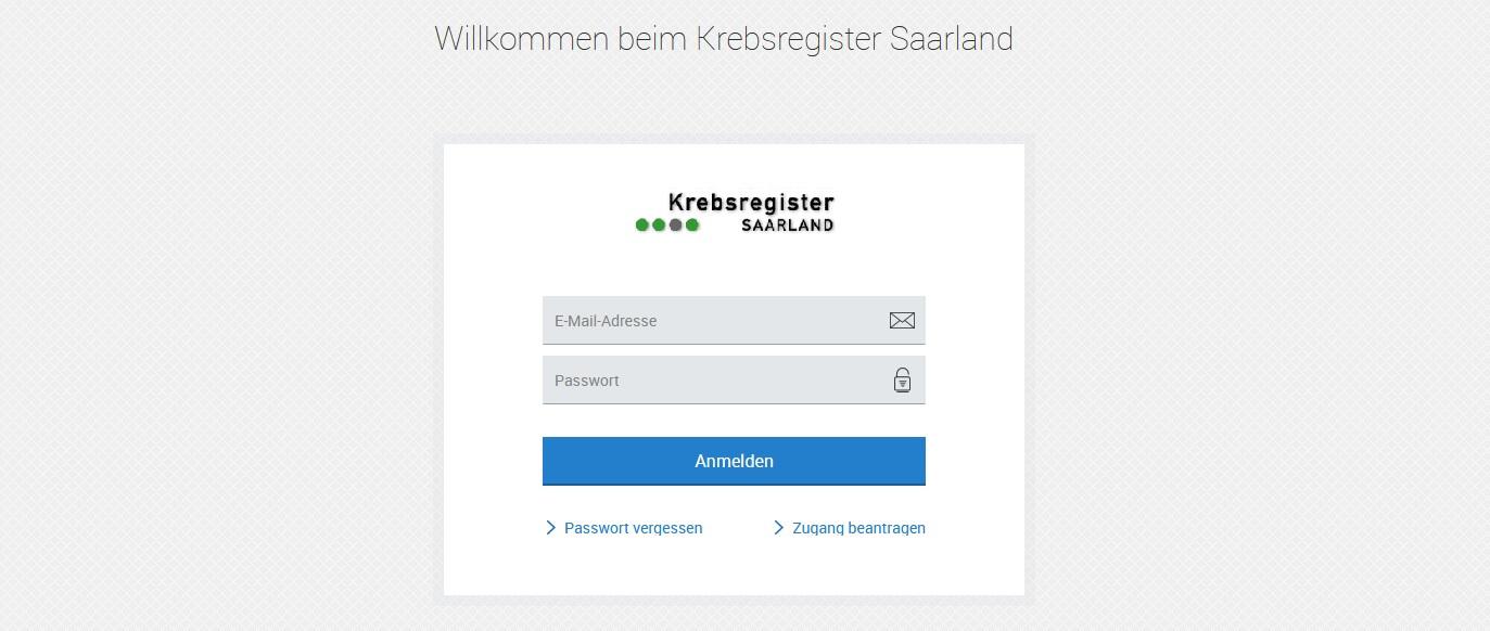 """Abbildung der Anmeldeseite des elektronischen Melderportals mit Eingabefeldern für die E-Mail-Adresse und dem Passwort. Darunter befindet sich der Anmeldebutton und die Auswahl """"Passwort vergessen"""" und """"Zugang beantragen""""."""