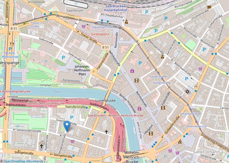 Kartenausschnitt der Innenstadt Saarbrückens von openstreetmap.org mit Positionsangabe des Saarländischen Krebsregisters. Das Krebsregister Saarland befindet sich in 66117 Saarbrücken in der Neugeländstraße 9. Nächstliegende ÖPNV-Haltestellen sind Saarbrücken, Eisenbahnstraße und Saarbrücken, Hansahaus/Ludwigskirche. Koordinaten des Breiten- und Längengrads in Dezimalangabe sind 49.23487 und 6.98710.